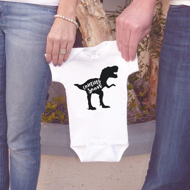 Pregnancy Announcement - Dinosaur Coming Soon Outfit for New Baby - Dino Pregnancy Reveal Idea - Baby Onepiece Announcement - Grandparents