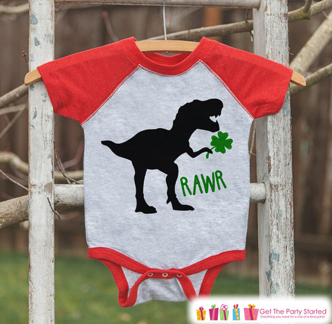 Kids St Patricks Day Outfit - Dinosaur St Paddy's Day Shirt or Onepiece - Boys St Patricks Day Shirt - Baby, Toddler, Youth - Red Dino Shirt - 7 ate 9 Apparel