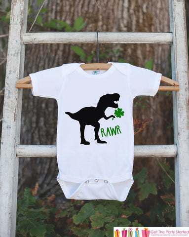 Kids St Patrick's Day Outfit - Dinosaur St Paddy's Day Onepiece or Tshirt - Boys St Patricks Day Shirt - Infant Lucky Clover Dinosaur Shirt - 7 ate 9 Apparel