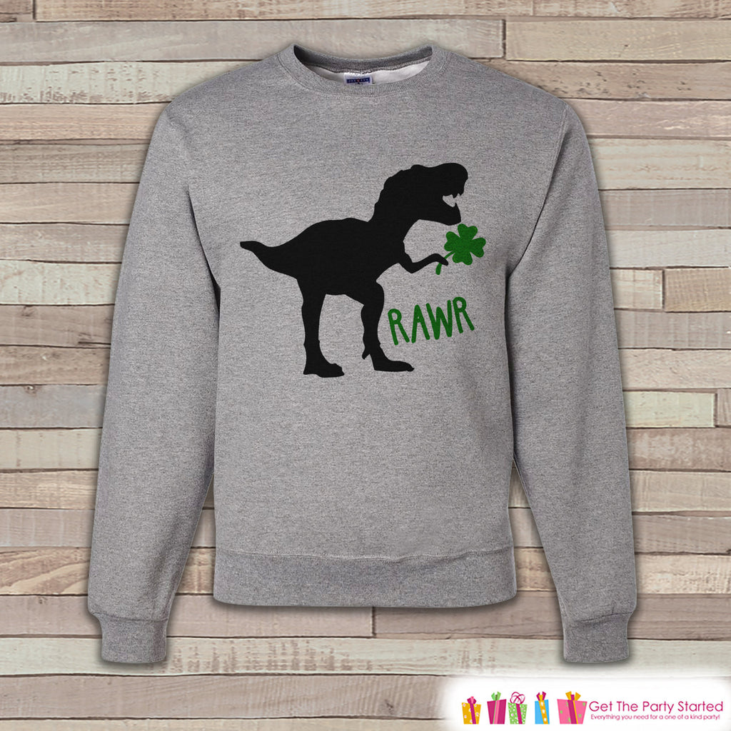 Adult St. Patrick's Day Shirt - Funny Mens St. Patrick's Day Sweatshirt - Dinosaur St Paddy's Day - St. Patrick's Grey Adult Sweatshirt - 7 ate 9 Apparel