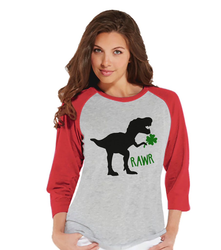 Women's St Patricks Day Shirt - Ladies Dinosaur St Paddy's Day Shirt - Dino St Patricks Day Gift for Her - Funny Lucky Dinosaur - Red Raglan - 7 ate 9 Apparel
