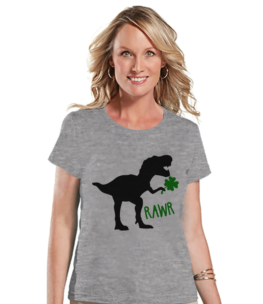 Womens St Patricks Day Shirt - Ladies Dinosaur St Paddy's Day Shirt - Dino St Patricks Day Gift for Her - Funny Lucky Dinosaur - Grey Tshirt - 7 ate 9 Apparel