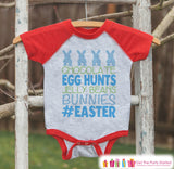 Boy's Easter Outfit - #Easter Red Raglan Shirt or Onepiece - Easter Egg Hunt - Easter Bunny - Baby, Toddler, Kids, Youth Novelty Raglan Tee - 7 ate 9 Apparel