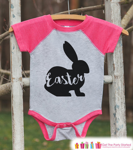Girls Easter Outfit - Easter Bunny Shirt or Onepiece - Bunny Silhouette Easter Egg Hunt Shirt - Baby, Toddler, Youth - Happy Easter - Pink - 7 ate 9 Apparel