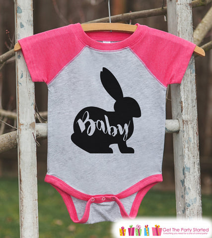 Girls Spring Outfit - Baby Bunny Shirt or Onepiece - Bunny Silhouette Family Shirts - Kids, Newborn, Infant - Easter Sibling Shirts - Pink - 7 ate 9 Apparel