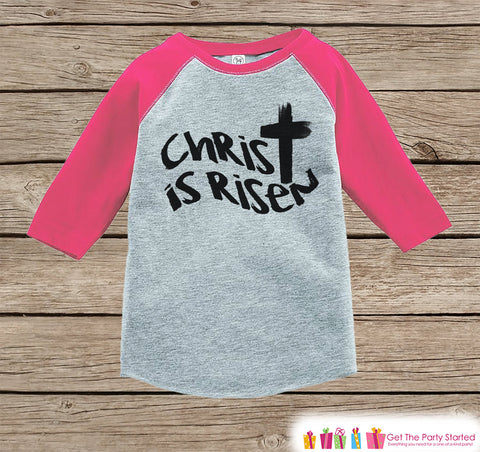 Girls Easter Outfit - Christ is Risen Shirt or Onepiece - Religious Easter Shirts - Baby, Toddler, Youth - Kids Cross Easter Shirt - Pink - 7 ate 9 Apparel