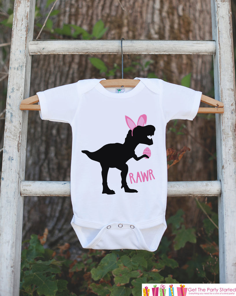 Kids Easter Outfit - Dinosaur Easter Bunny Onepiece or Tshirt - Girls Happy Easter Shirt - Baby Toddler Youth Pink Bunny Ears Dinosaur Shirt - 7 ate 9 Apparel