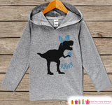 Boys Easter Outfit - Dinosaur Easter Bunny Hoodie - Easter Spring Pullover - Baby Toddler Boys Easter Outfit - Egg Hunt - Kids Grey Hoodie - 7 ate 9 Apparel