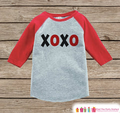 Kids Valentines Outfit - XOXO Valentine's Day Shirt or Onepiece - Valentine's Shirt for Boy or Girl - Baby Toddler Youth - Red & Black Top - 7 ate 9 Apparel