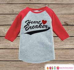 Boys Valentines Outfit - Heart Breaker Valentine's Day Shirt or Onepiece - Funny Valentine Shirt for Boys - Baby, Toddler, Youth Outfit - 7 ate 9 Apparel