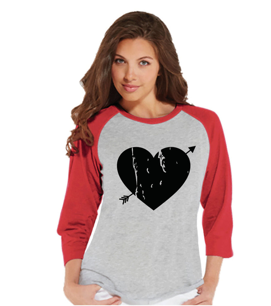 Ladies Valentine Shirt - Womens Heart Arrow Shirt - Valentines Gift for Her - Cupid Shirt - Rustic Happy Valentine's Day - Red Raglan Shirt - 7 ate 9 Apparel