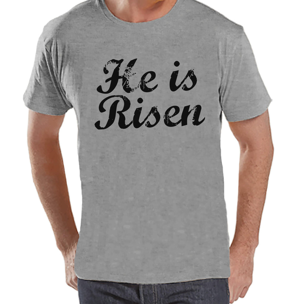 Men's Easter Shirt - Mens He is Risen Religious Easter Shirt - Happy Easter Tshirt - Christian Easter Shirt - Jesus is Risen - Grey T-shirt - 7 ate 9 Apparel