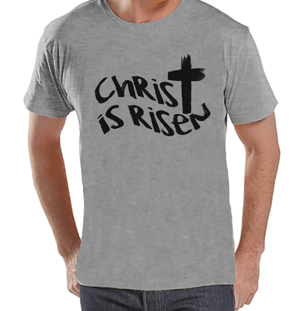Men's Easter Shirt - Mens Christ is Risen Religious Easter Shirt - Happy Easter Tshirt - Christian Easter Shirt - Jesus Cross Grey T-shirt - 7 ate 9 Apparel