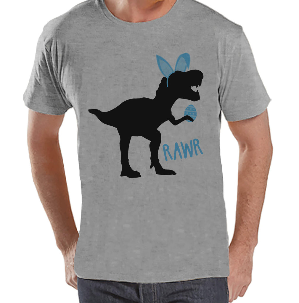 Men's Easter Shirt - Bunny Dinosaur Happy Easter Shirt - Dino Happy Easter Tshirt - Gift for Him - Humorous Spring Shirt - Grey T-shirt - 7 ate 9 Apparel