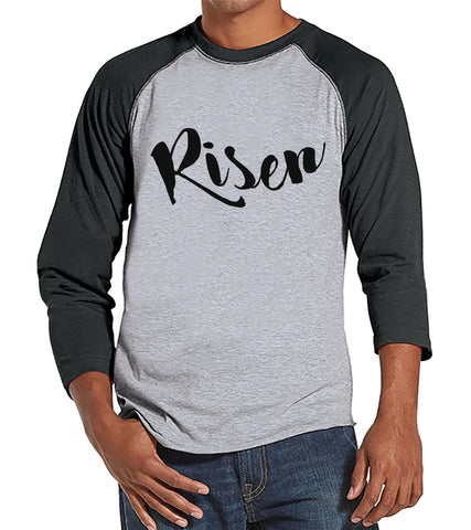 Men's Easter Shirt - Mens Risen Religious Easter Shirt - Happy Easter Tshirt - Christian Easter Shirt - Jesus is Risen - Grey Raglan - 7 ate 9 Apparel