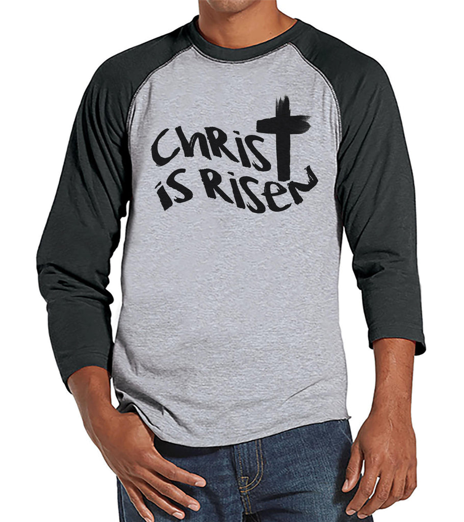 Men's Easter Shirt - Mens Christ is Risen Religious Easter Shirt - Happy Easter Tshirt - Christian Easter Shirt - Jesus Cross Grey Raglan - 7 ate 9 Apparel