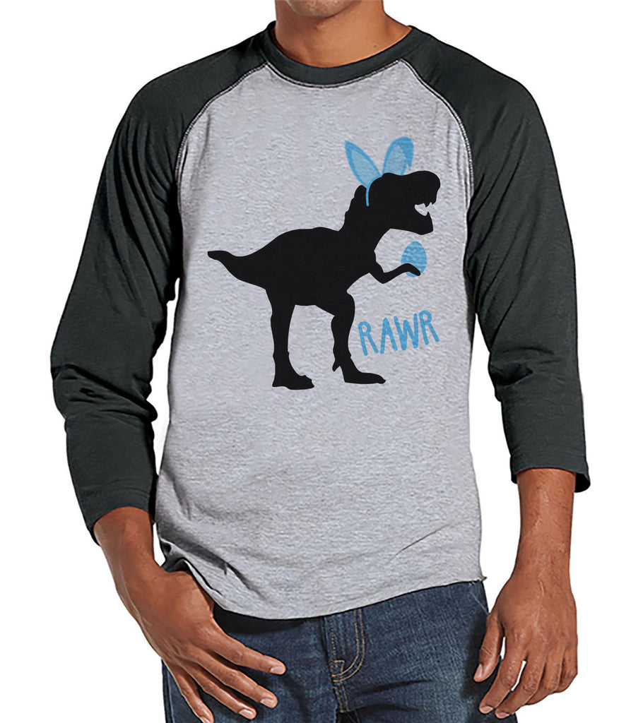 Men's Easter Shirt - Bunny Dinosaur Happy Easter Shirt - Dino Happy Easter Tshirt - Gift for Him - Humorous Spring Shirt - Grey Raglan - 7 ate 9 Apparel
