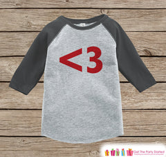Kids Valentines Outfit - Red Heart Valentine's Day Shirt or Onepiece - Boy or Girl Valentine Shirt - Kids, Baby, Toddler, Youth - <3 - Grey - 7 ate 9 Apparel