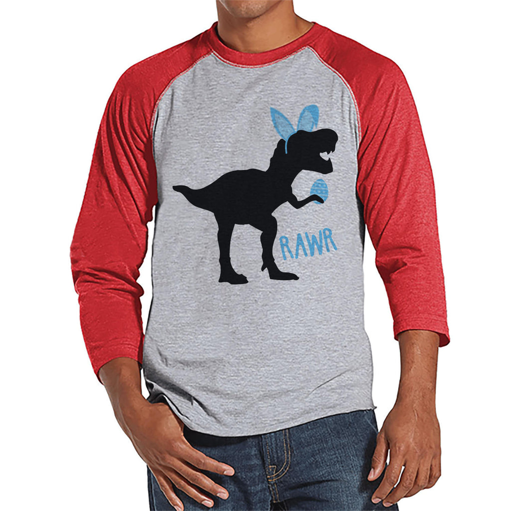 Men's Easter Shirt - Bunny Dinosaur Happy Easter Shirt - Dino Happy Easter Tshirt - Gift for Him - Humorous Spring Shirt - Red Raglan - 7 ate 9 Apparel