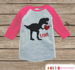 Kids Valentines Outfit - Dinosaur Valentine's Day Shirt or Onepiece - Girls Valentine Shirt - Baby, Toddler, Youth - Dino Valentine - Pink - 7 ate 9 Apparel