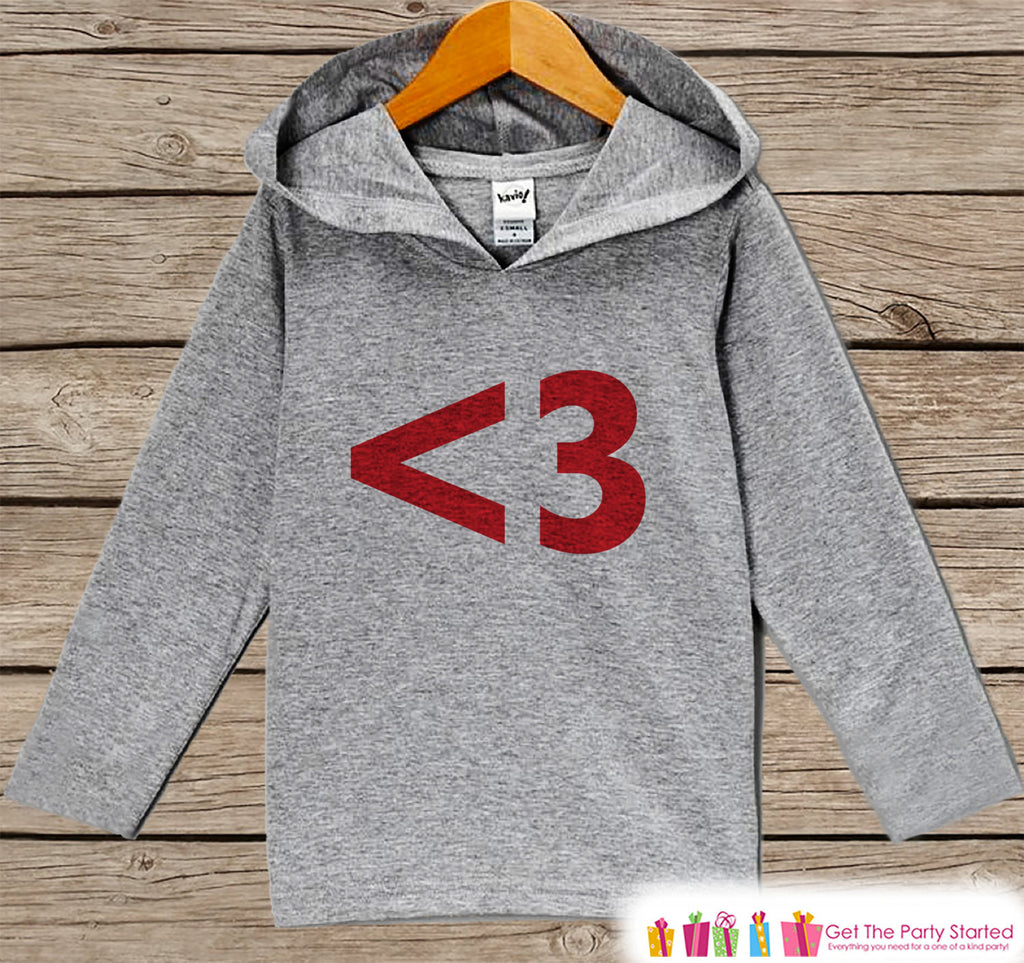 Kids Valentines Day Outfit - Red <3 Heart Valentine Pullover - Fun Boy or Girls Love Valentine's Day Outfit - Kids, Baby, Toddler Hoodie - 7 ate 9 Apparel