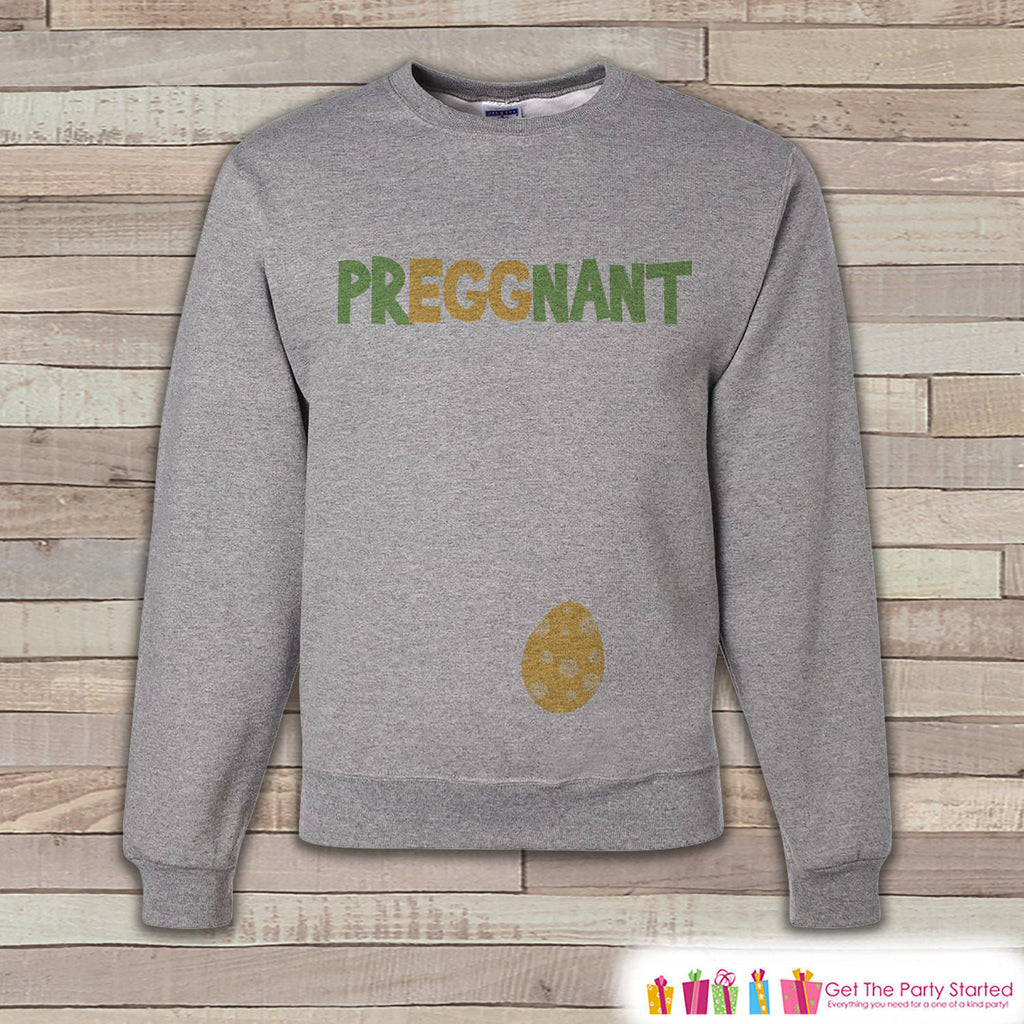 Easter Pregnancy Reveal - PrEGGnant Baby Reveal - Pregnancy Announcement - Easter Sweatshirt - Womens Pullover - Spring Baby Reveal - 7 ate 9 Apparel