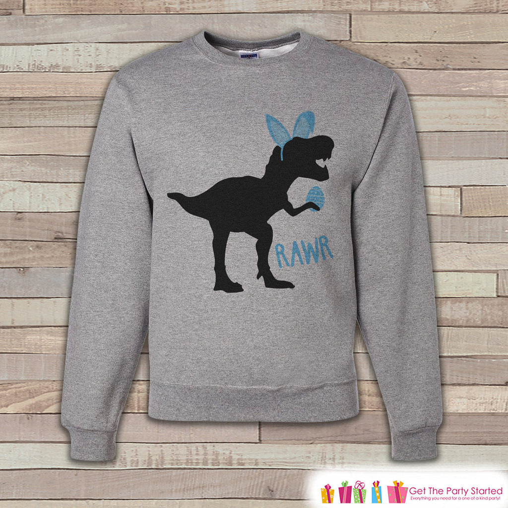 Adult Easter Shirt - Funny Easter Bunny Dinosaur Happy Easter Sweatshirt - Dino Blue Bunny Ears Easter Shirt - Easter Grey Men's Sweatshirt - 7 ate 9 Apparel