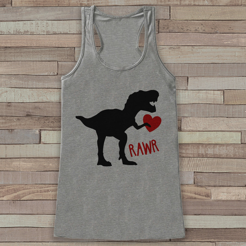 Womens Valentine Shirt - Funny Valentine's Day Tank Top - Dinosaur Valentine - Women's Humorous Tank - Happy Valentines Day - Grey Tank Top