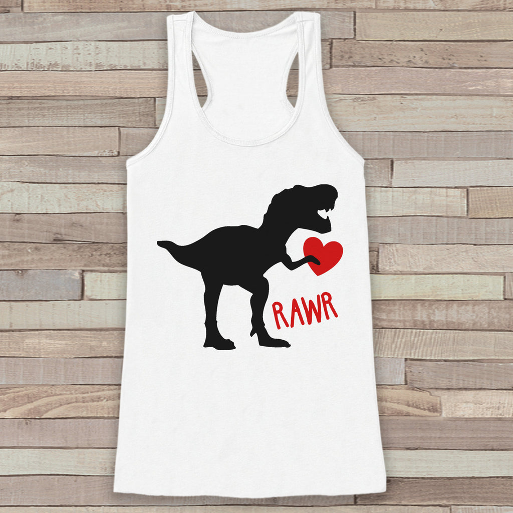 Womens Valentine Shirt - Funny Valentine's Day Tank Top - Dinosaur Valentine - Women's Humorous Tank - Happy Valentines Day - White Tank Top