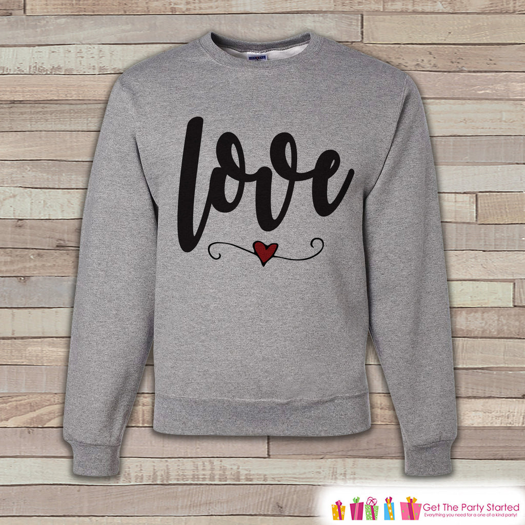 Adult Valentine Shirt - Womens Valentines Day Sweatshirt - Red Heart Love - Happy Valentines Day Shirt - Grey Adult Crewneck Sweatshirt - 7 ate 9 Apparel
