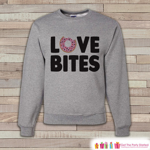 Adult Valentine Shirt - Funny Valentines Day Sweatshirt - Love Bites Valentine Shirt - Anti Valentines Day - Grey Adult Crewneck Sweatshirt - 7 ate 9 Apparel