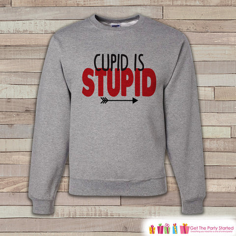 Adult Valentine Shirt - Funny Valentines Day Sweatshirt - Cupid is Stupid Valentine Shirt - Anti Valentines Day - Grey Crewneck Sweatshirt - 7 ate 9 Apparel