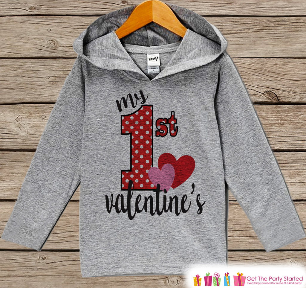 Kids Valentines Day Outfit - Girls Hoodie - My First Valentine Pullover - Baby Girls 1st Valentine's Day Outfit - Newborn, Infant Hoodie - 7 ate 9 Apparel