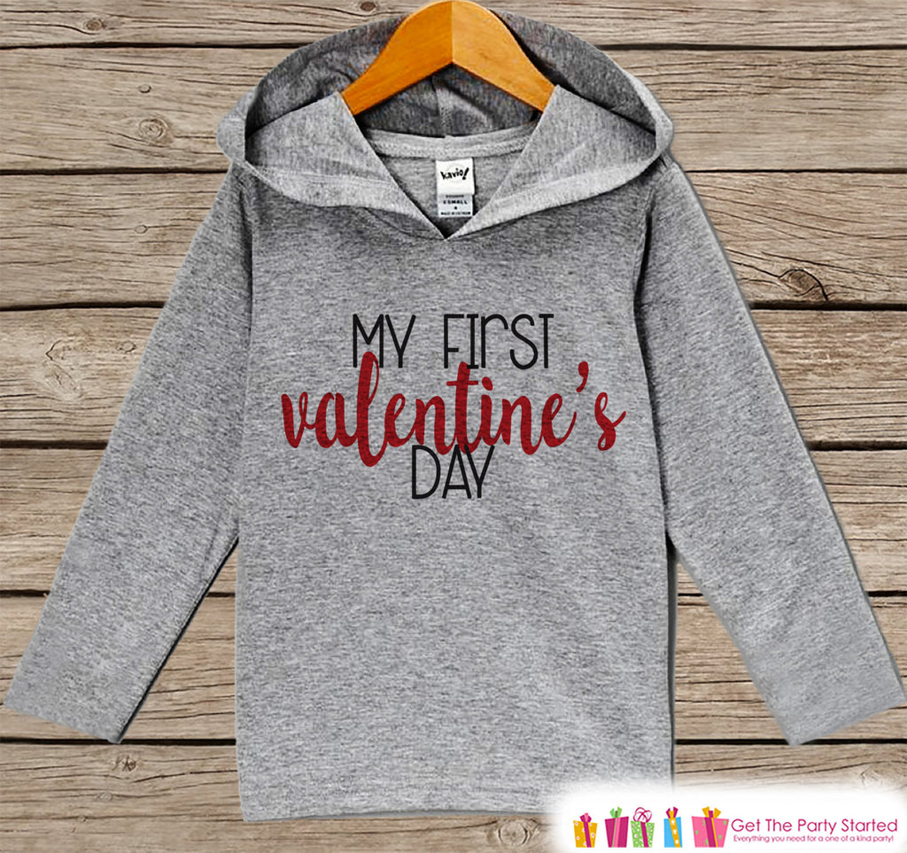 First Valentines Day Outfit - Girl or Boy Hoodie - My First Valentine Pullover - Baby's 1st Valentine's Day Outfit - Newborn, Infant Hoodie - 7 ate 9 Apparel