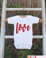 Kids Valentines Day Outfit - Valentine's Day Onepiece or T-shirt - Red Love Script Valentine Shirt for Baby Girls - Kids Valentine Shirt - 7 ate 9 Apparel