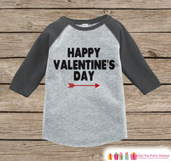 Kids Valentines Outfit - Happy Valentine's Day Shirt or Onepiece - Boy or Girl Valentine Shirt - Kids, Baby, Toddler, Youth - Grey Raglan - 7 ate 9 Apparel