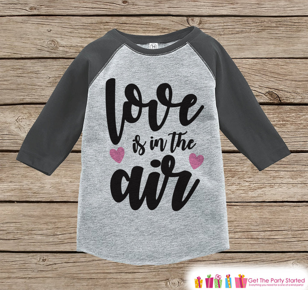 Girls Valentines Outfit - Love Is In The Air - Valentine Shirt or Onepiece - Girl Valentine's Day Shirt - Baby, Toddler, Youth - Grey Raglan - 7 ate 9 Apparel