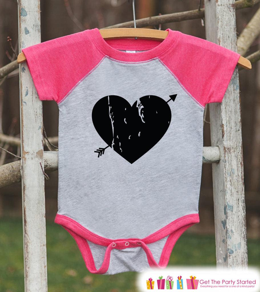 Girls Valentines Outfit - Black Heart Valentine's Day Shirt or Onepiece - Girls Valentine Shirt - Kids, Baby, Toddler, Youth - Pink Raglan - 7 ate 9 Apparel