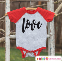 Kids Valentines Outfit - Black Love Script Valentine's Day Shirt or Onepiece - Boy or Girl Valentine Shirt - Baby, Toddler, Youth - Red - 7 ate 9 Apparel