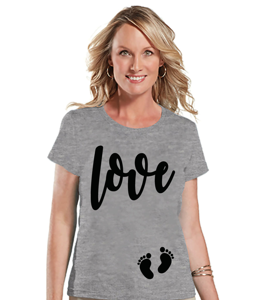 Valentine's Pregnancy Shirt - Love with Baby Feet Shirt - Pregnancy Reveal - Valentine's Day Pregnancy Announcement - Womens Grey T-shirt