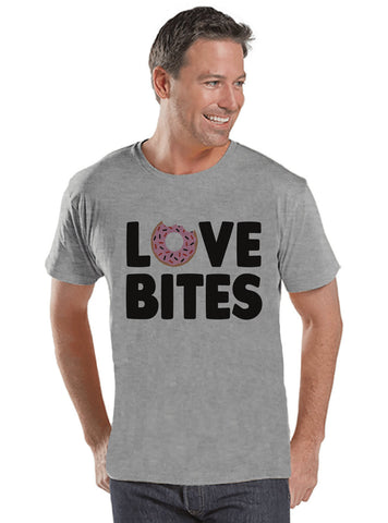 Men's Valentine Shirt - Funny Food Valentine Shirt - Love Bites Tee - Happy Valentines Day - Anti Valentines Gift for Him - Grey Shirt - 7 ate 9 Apparel