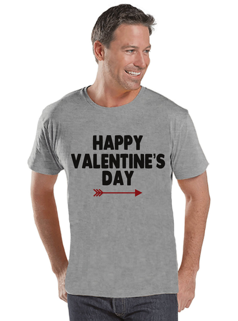 Men's Valentine Shirt - Happy Valentine's Day Shirt - Mens Valentines Day Shirt - Valentines Gift for Him - Husband, Boyfriend - Grey Shirt - 7 ate 9 Apparel