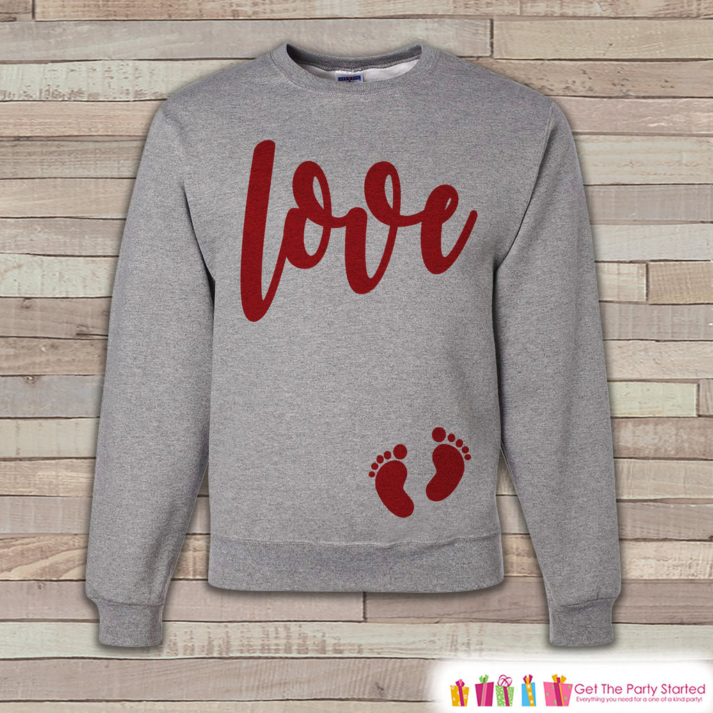Valentine's Pregnancy Reveal - Red Love Script, Baby Feet - Pregnancy Announcement - Valentine's Day Pregnancy Reveal - Pregnancy Shirt - 7 ate 9 Apparel