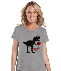 Ladies Valentine Shirt - Womens Dinosaur Valentines Day Shirt - Valentines Gift for Her - Dino Love Happy Valentine's Day - Grey T-shirt