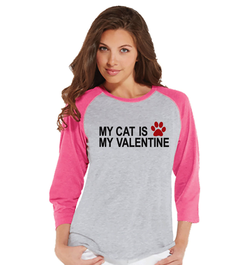 Ladies Valentine Shirt - Funny Cat Valentine Shirt - Womens Happy Valentines Day Shirt - Funny Anti Valentines Gift for Her - Pink Raglan - 7 ate 9 Apparel