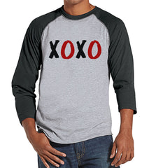 Men's Valentine Shirt - Mens XOXO Valentines Day Shirt - Valentines Gift for Him - Hugs & Kisses - Funny Happy Valentine's Day - Grey Raglan - 7 ate 9 Apparel