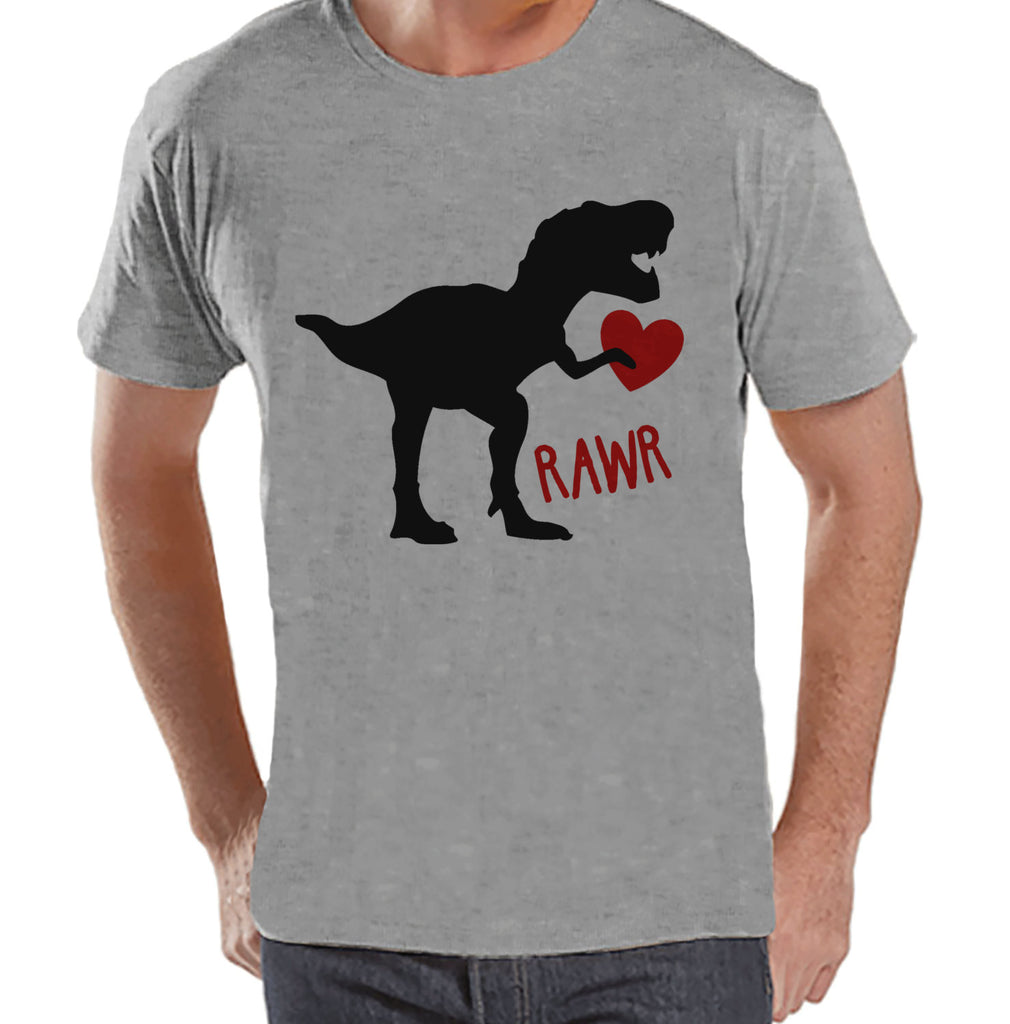 Men's Valentine Shirt - Mens Dinosaur Valentines Day Shirt - Dino Valentines Gift for Him - Funny Happy Valentine's Day - Grey T-shirt