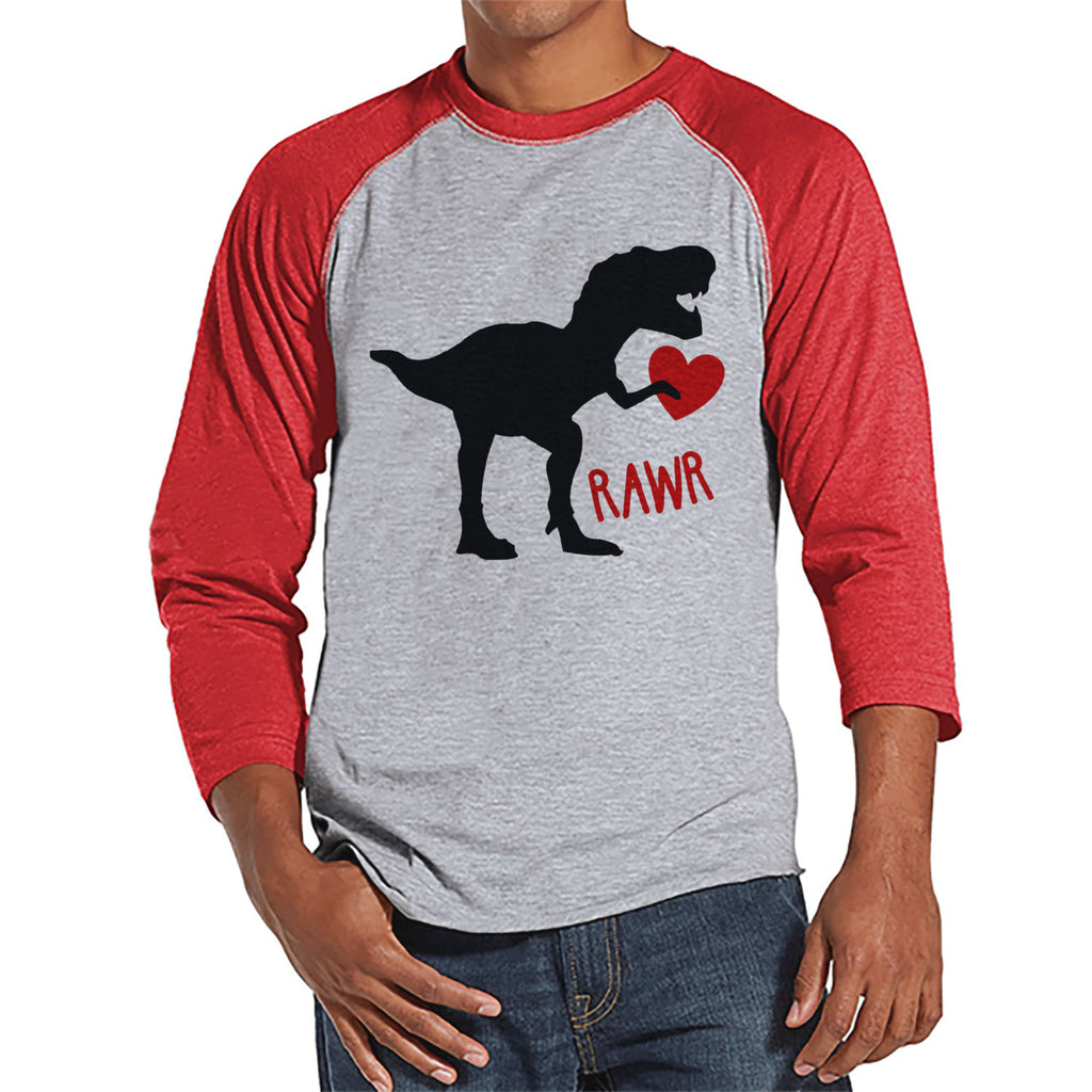Men's Valentine Shirt - Mens Dinosaur Valentines Day Shirt - Dino Valentines Gift for Him - Funny Happy Valentine's Day - Red Raglan Shirt