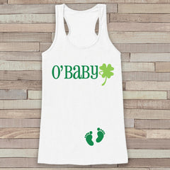St. Patrick's Tank Top - Women's St Patrick's Day - White Tank Top - Funny O'Baby Tank - Pregnancy Reveal - St. Patty's Baby - Announcement - 7 ate 9 Apparel