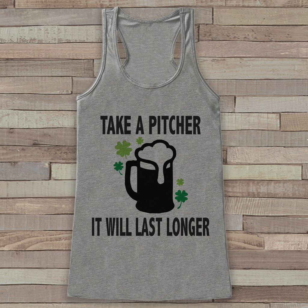 b12b28dd35523 St. Patrick s Tank Top - Funny St. Patrick s Day Tank - Women s Grey Tank  Top - Funny Drinking Shirt - Take a Pitcher Beer - Party Shirt